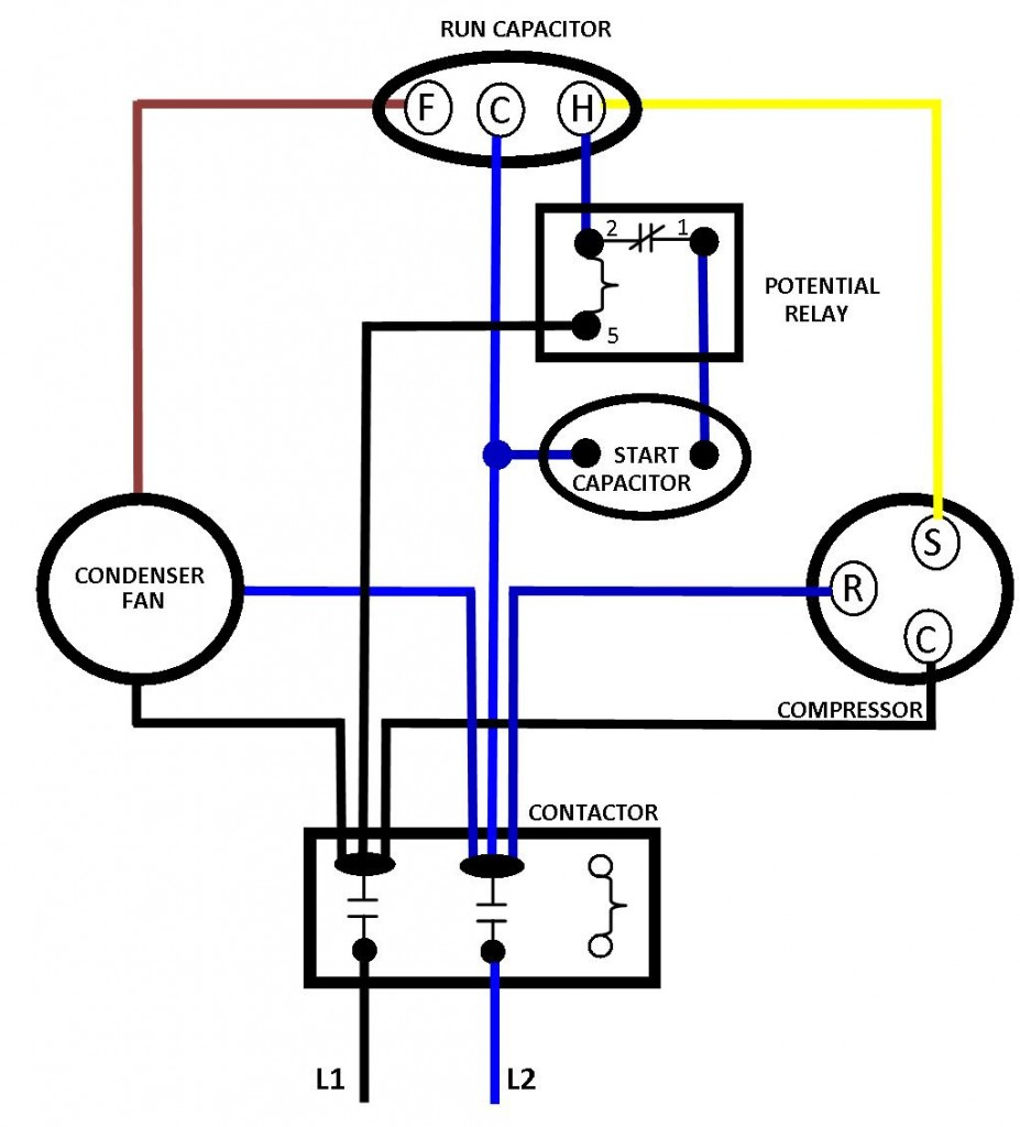 AC BASIC WIRING 927x1024 hvac how to replace the run capacitor in the compressor unit on ac condenser fan motor run capacitor wiring diagram to dayton